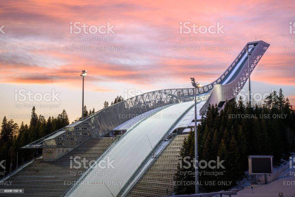 Oslo ,Norway - December 22nd, 2017: Holmenkollen Ski Jump Arena stock photo