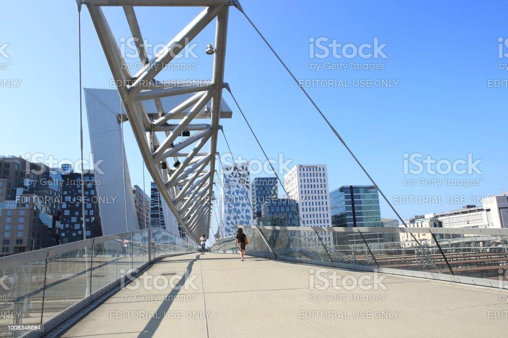 Oslo, Norway – July 19, 2018: Akrobaten pedestrian bridge in Bjorvika district. stock photo