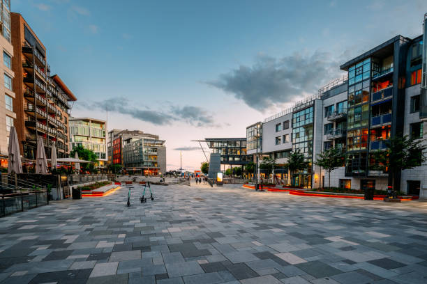 Oslo, Norway. Residential Multi-storey Houses In Aker Brygge District In Summer Evening. Famous And Popular Place stock photo