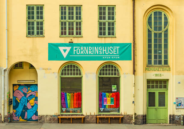 Oslo, Norway: View of the Culture and Activity house in Oslo (Forandringshuset). Facade of an old historical building (Menighetshus) stock photo