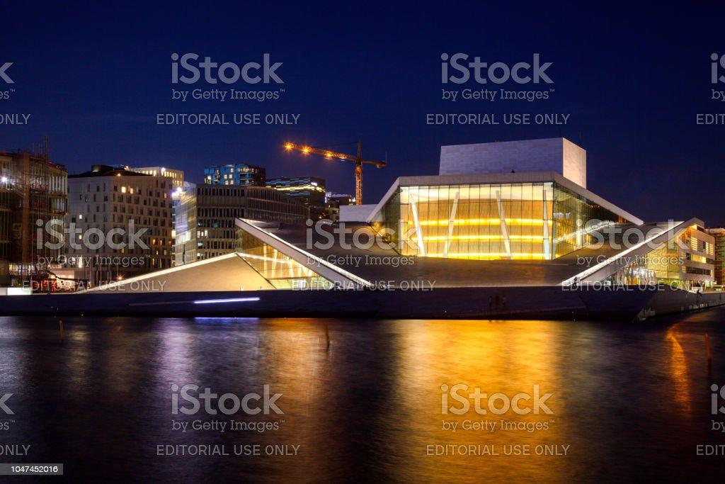 Oslo Opera House at night Norway Scandanavia stock photo