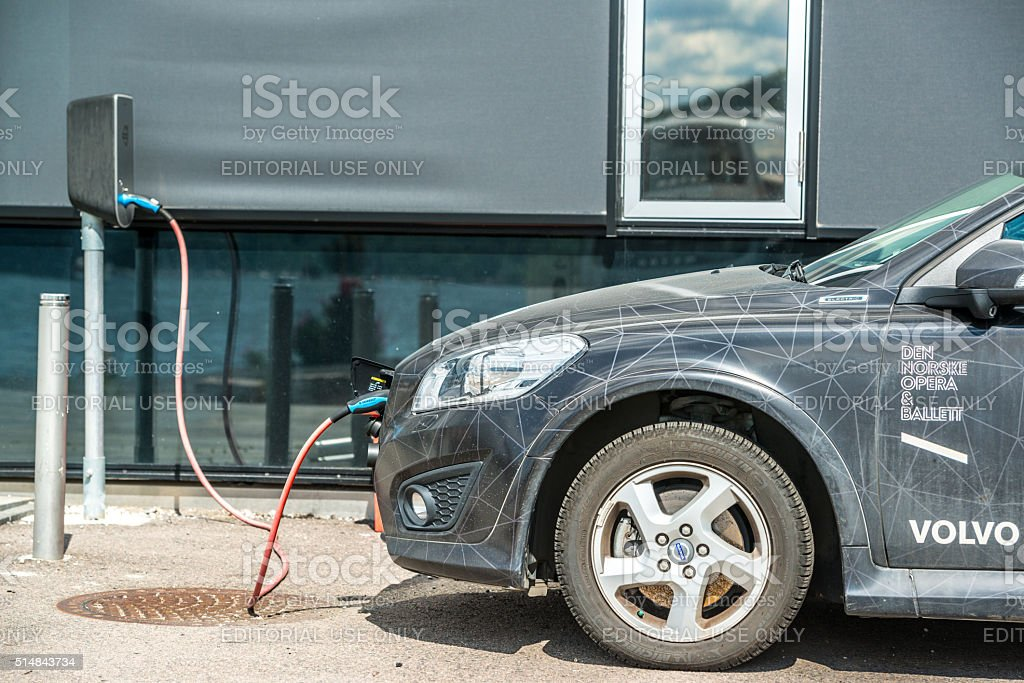 Oslo Opera House Electro Car charging stock photo