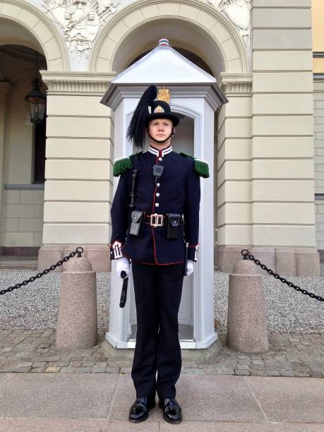 oslo palace guard - front facing - mcdermp stock photos and pictures