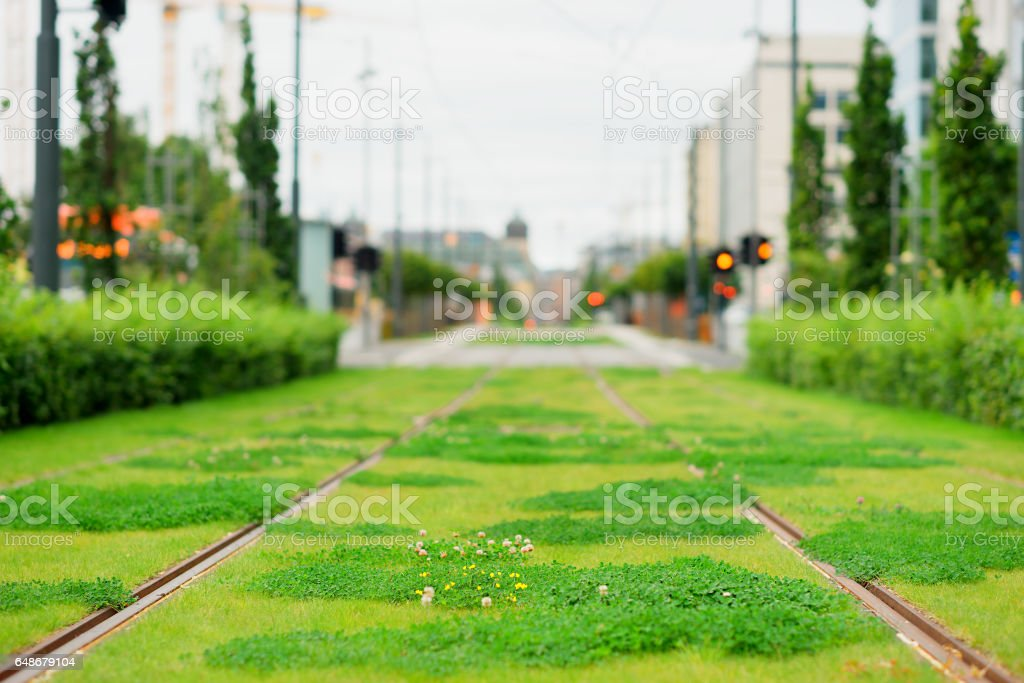 Oslo railway with green grass background stock photo
