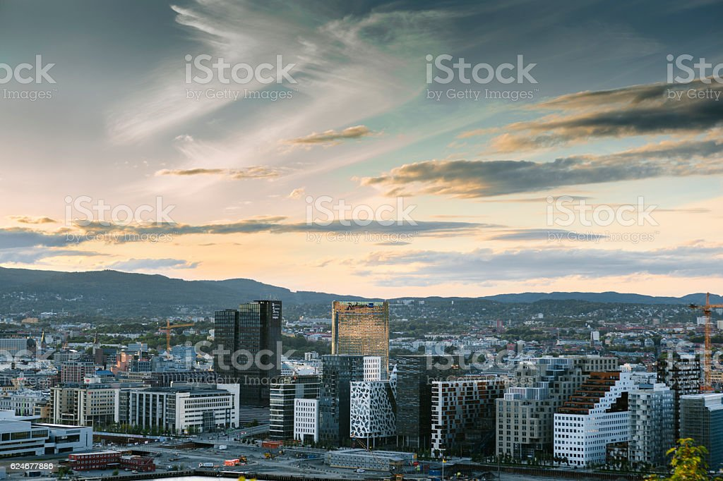 Oslo Skyline at Sunset, Norway stock photo