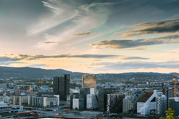 Oslo Skyline at Sunset, Norway Magnificent view to Oslo Barcode and surroundings during sunset. oslo stock pictures, royalty-free photos & images