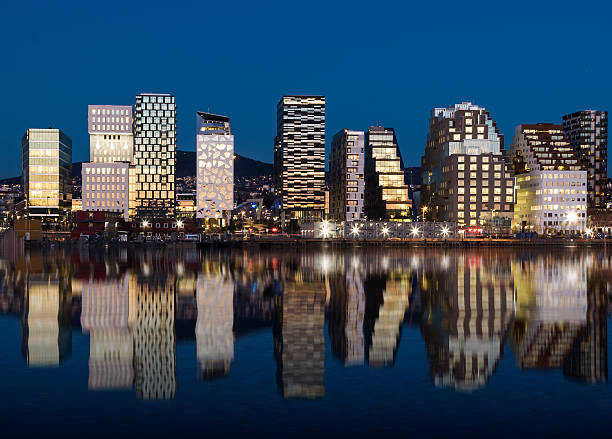 Oslo Skyline by night 2015 Oslo Skyline by night 2015 oslo stock pictures, royalty-free photos & images