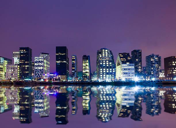 Oslo Skyline by night stock photo