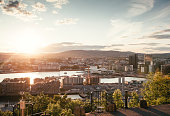 Beautiful skyline of Oslo. Sunset.