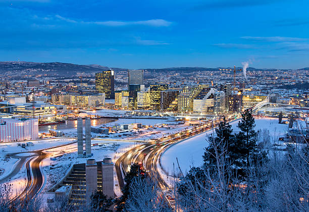 Oslo Skyline winter morning Oslo Skyline winter morning oslo stock pictures, royalty-free photos & images