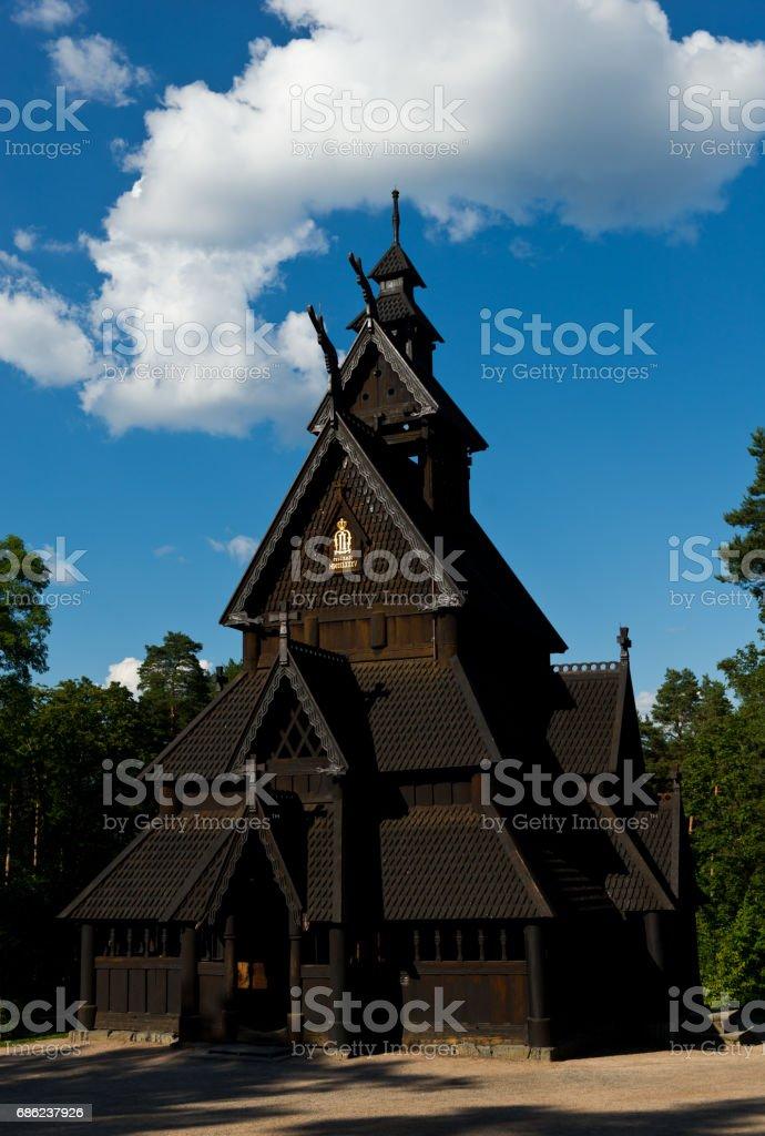 Oslo stave church stock photo