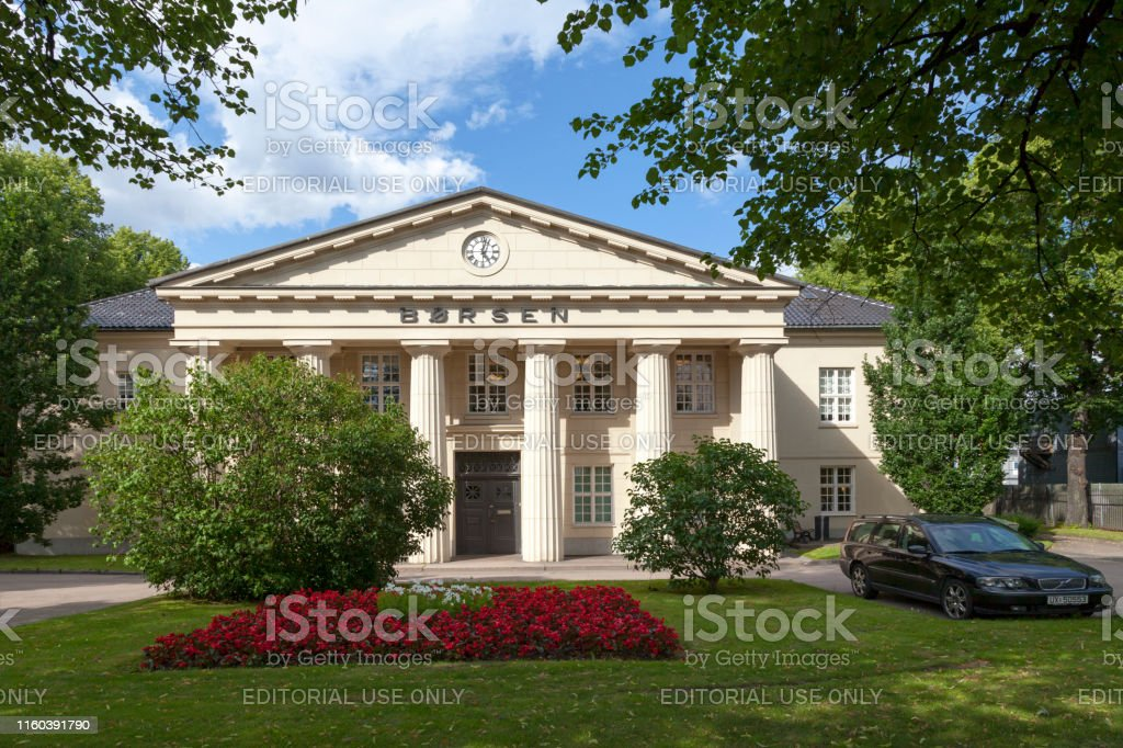 "Oslo Stock Exchange Oslo, Norway - June 26 2019: Oslo Stock Exchange (Norwegian: Oslo Børs) is a stock exchange within the Nordic countries and offers Norway""u2019s only regulated markets for securities trading today. Architecture Stock Photo"