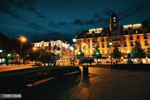 Oslo Town square at night, Norway