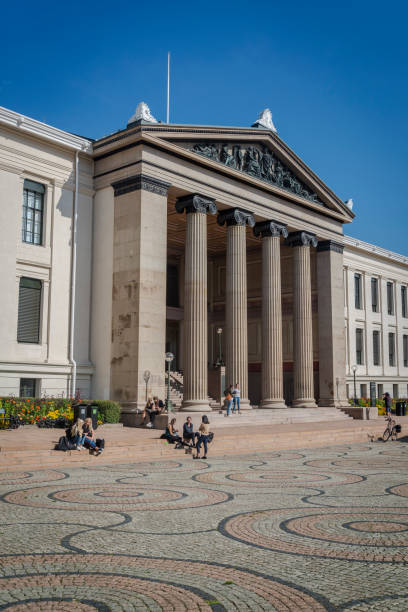 Oslo University Aula, Oslo, Norway Neoclassical facade of the Oslo University Aula - the University ceremonial hall used for festive events, concerts and art, Oslo, Norway university of oslo stock pictures, royalty-free photos & images
