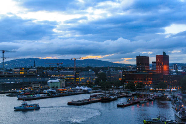 Oslo Views View on the Harbour of Oslo and City Hall. university of oslo stock pictures, royalty-free photos & images