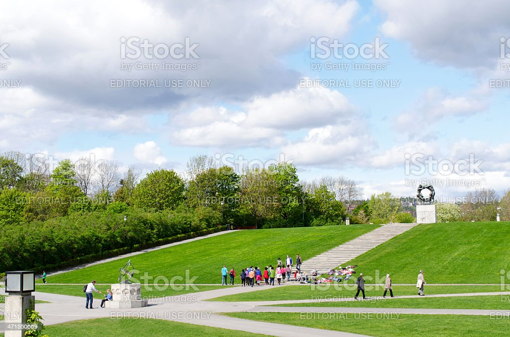 Oslo Vigeland Park with Tourists stock photo