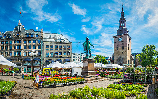 Oslo woman walking through flower market in square Stortovet Norway Oslo, Norway - July 12, 2014: Woman walking between market stalls selling green plants and colourful flowers in Stortorvet, the Grand Plaza in the hear of downtown Oslo, Norway. Composite panoramic image created from six contemporaneous sequential photographs.  oslo stock pictures, royalty-free photos & images