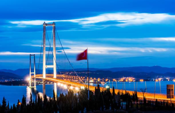 Osman Gazi Köprüsü. IZMIT, KOCAELI, TÜRKİYE. stok fotoğrafı