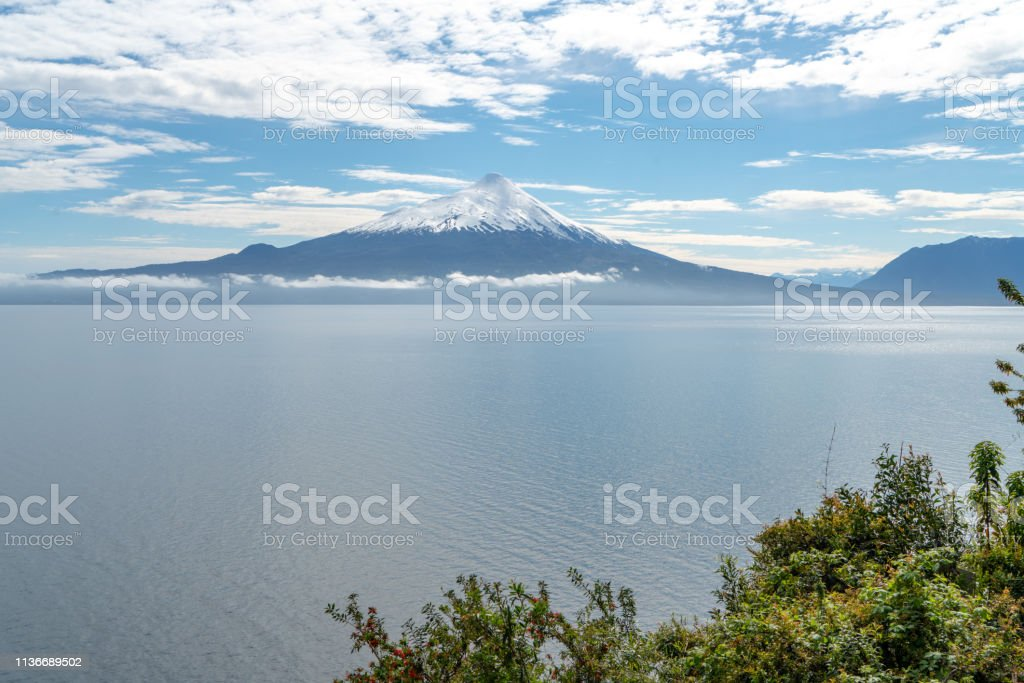 Osorno Volcano in Chilean Lake District - Puerto Varas, Chile stock photo