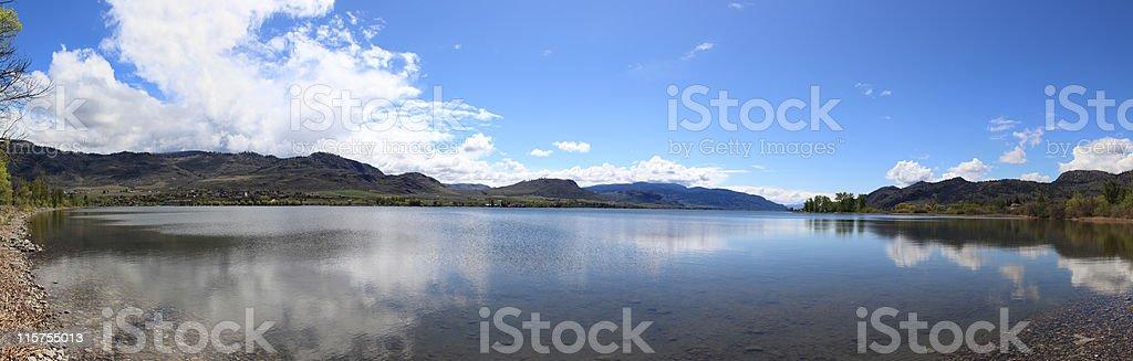 Osoyoos Lake south view panorama. stock photo