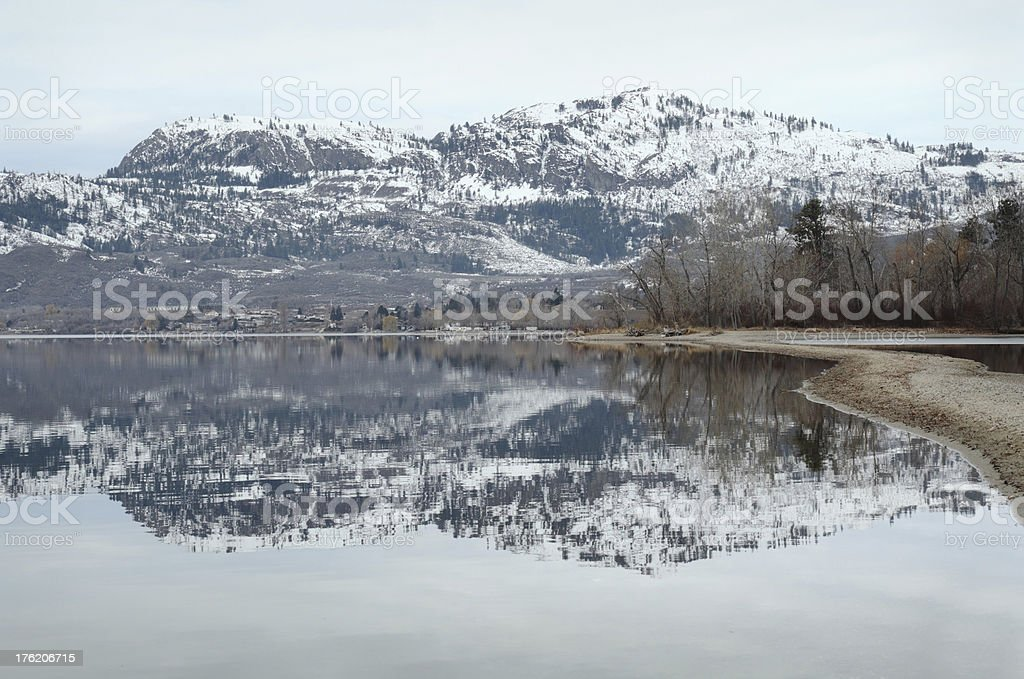 Osoyoos Lake Winter Reflection BC royalty-free stock photo