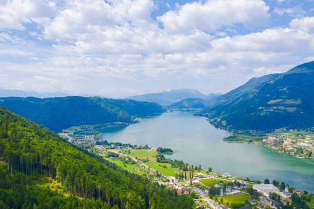 Ossiacher See in Kärnten. Scenic summertime panorama of Lake Ossiach. stock photo