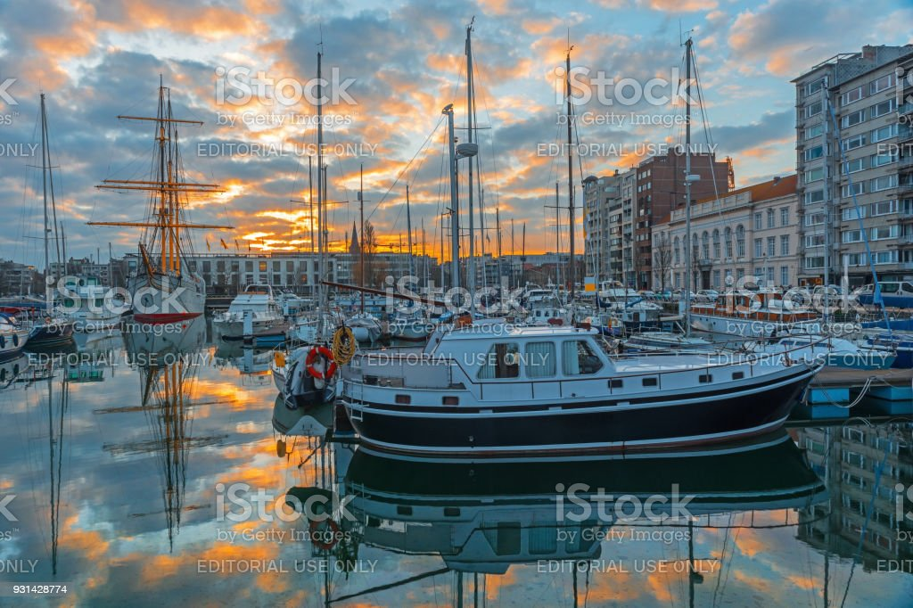Ostend Yacht Harbor at Sunset stock photo