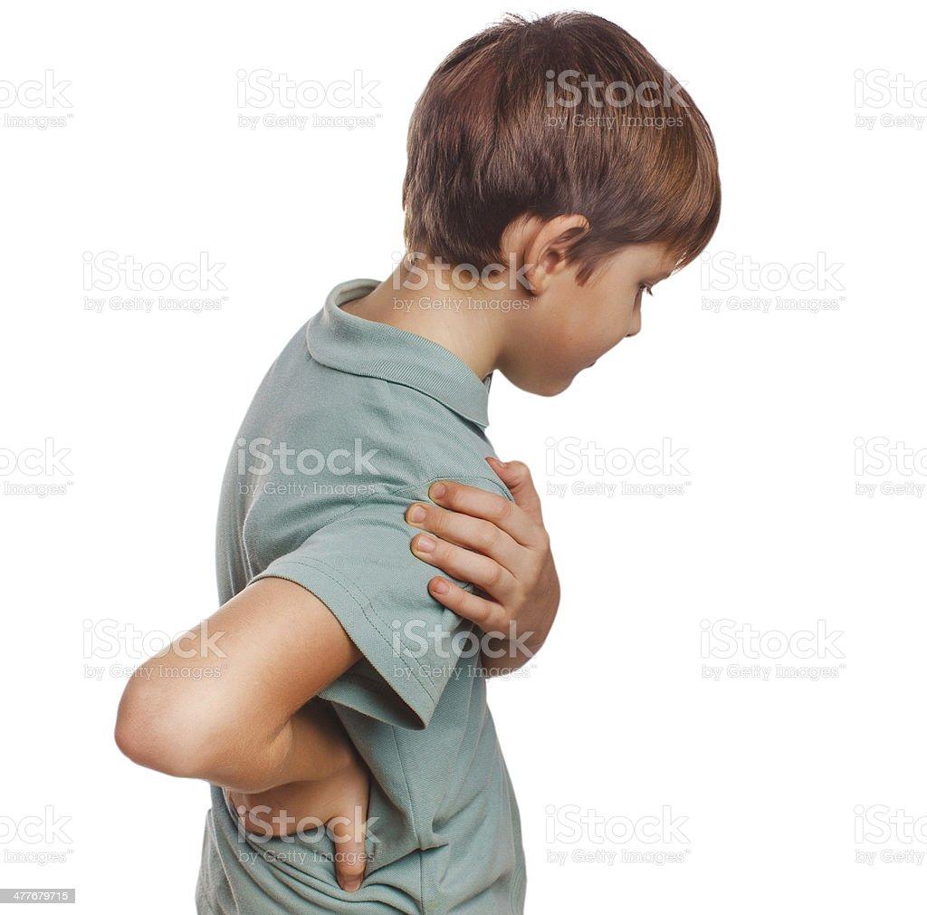 osteochondrosis teenage boy holds his hand behind back royalty-free stock photo