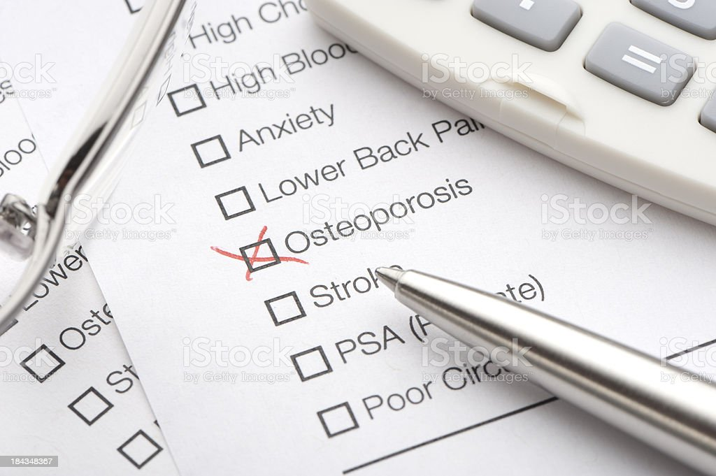 Osteoporosis checked on a medical test royalty-free stock photo