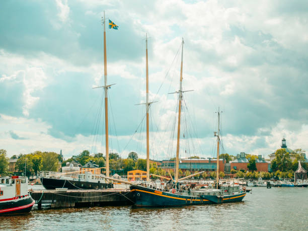 Ostermalm district in Stockholm with touristic sightseeing and modern sail boats stock photo