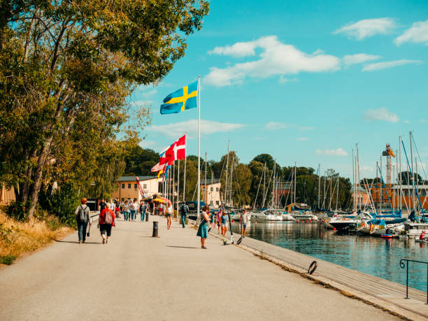 Ostermalm district in Stockholm with touristic sightseeing and modern sailboats stock photo