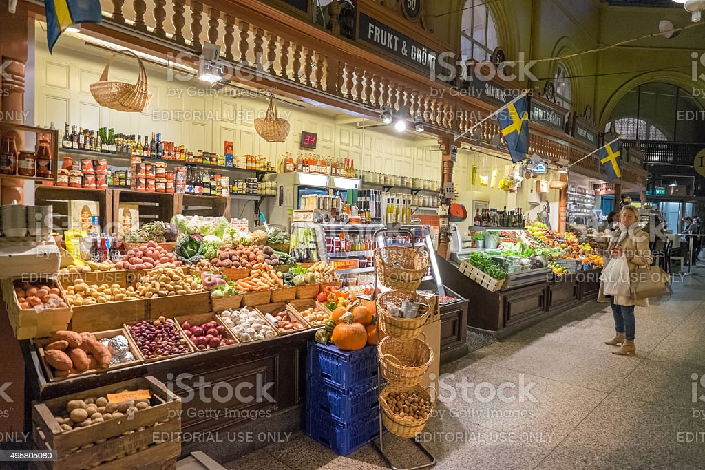 Ostermalm market hall in Stockholm stock photo