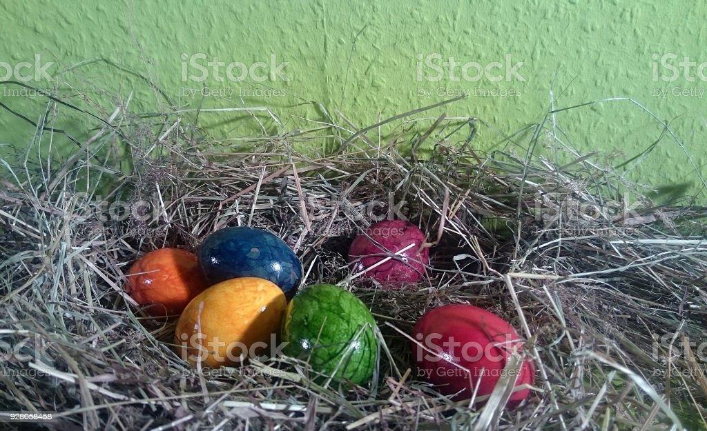 Osternest mit bunten Eiern stock photo
