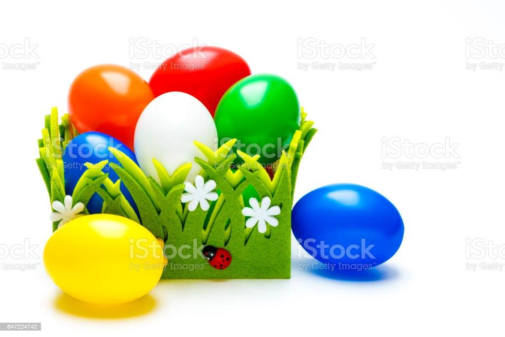 Osternest mit vielen bunten Eiern stock photo