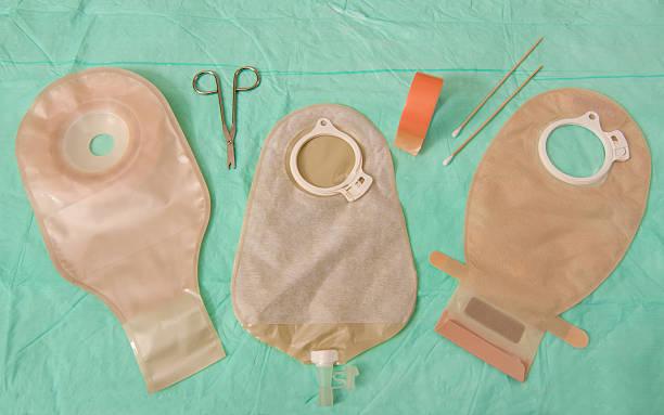 Ostomy bag selection stock photo