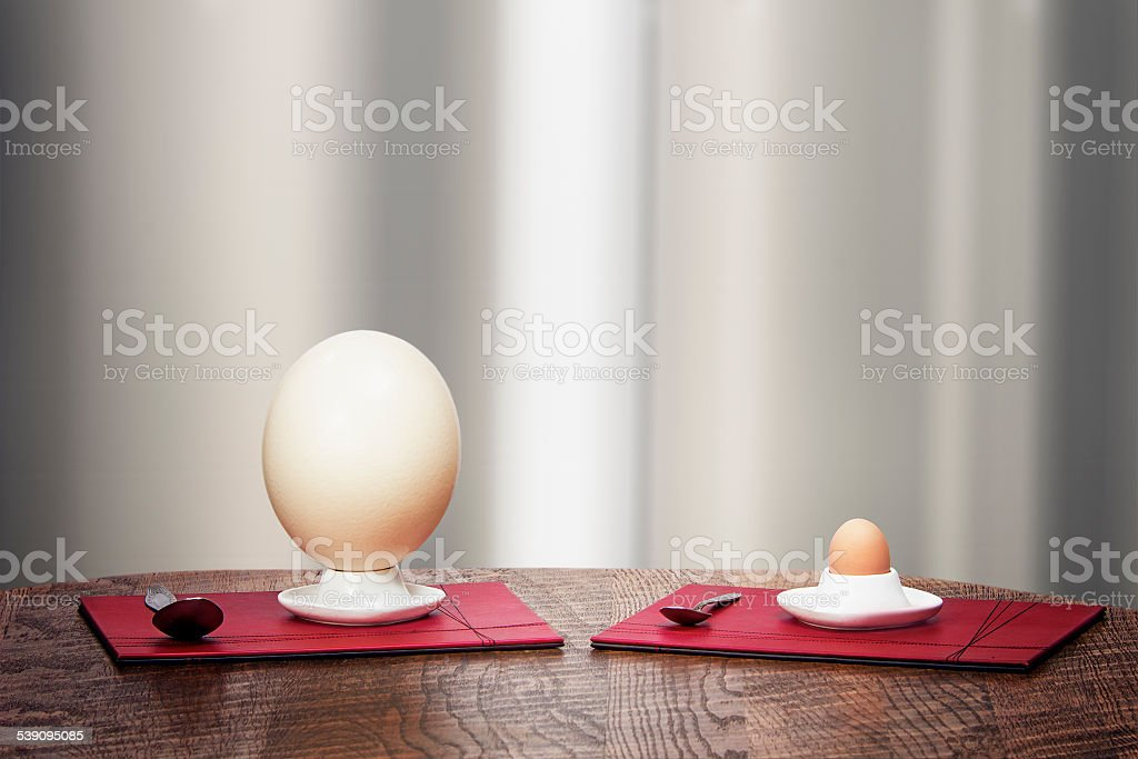 Ostrich and hen eggs in eggholders stock photo