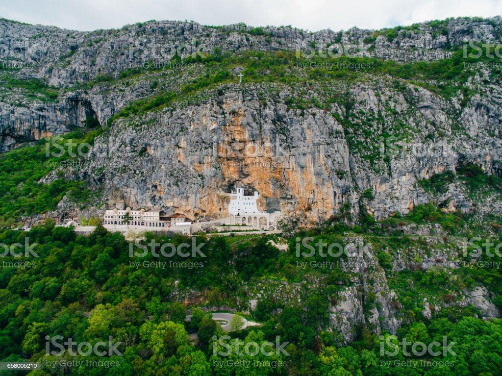 Ostrog monastery in Montenegro. The unique monastery in the rock stock photo