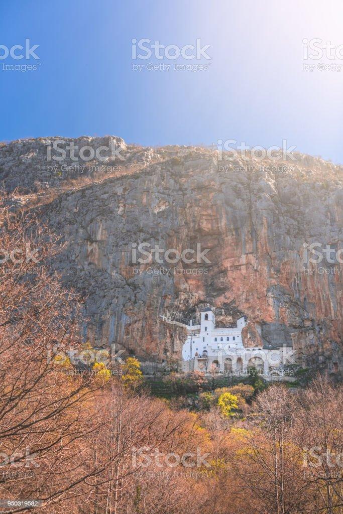 Ostrog Orthodox monastery in Montenegro stock photo