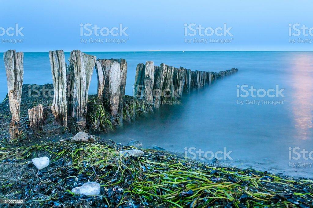 Ostseestrand bei Dämmerung stock photo