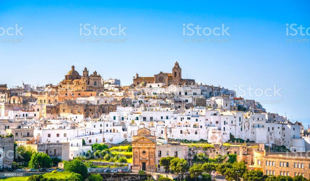 Ostuni white town skyline, Brindisi, Apulia, Italy. stock photo