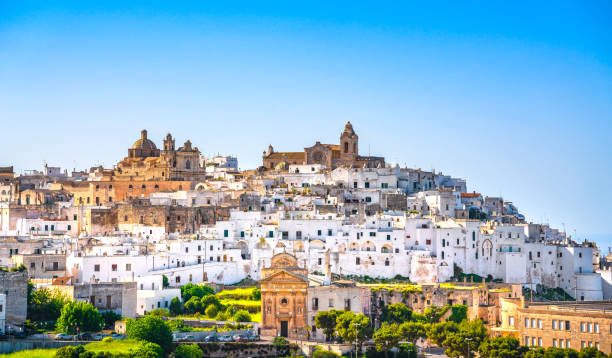 Ostuni white town skyline, Brindisi, Apulia, Italy. stock photo