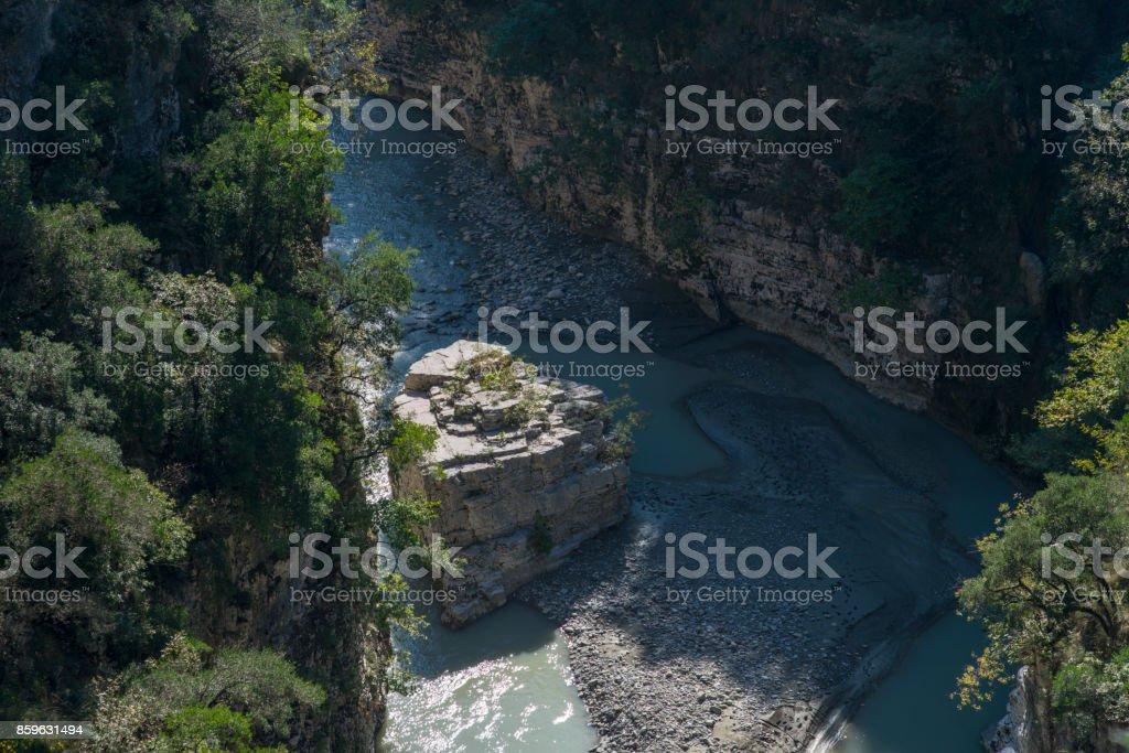 Osum river near Berat Albania stock photo