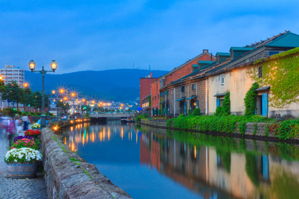otaru canal, famous tourist attraction of hokkaido. - sapporo stock photos and pictures