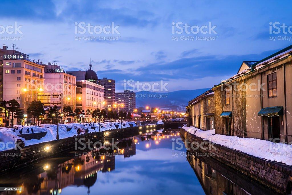 Otaru canal,Hokkaido in the winter stock photo