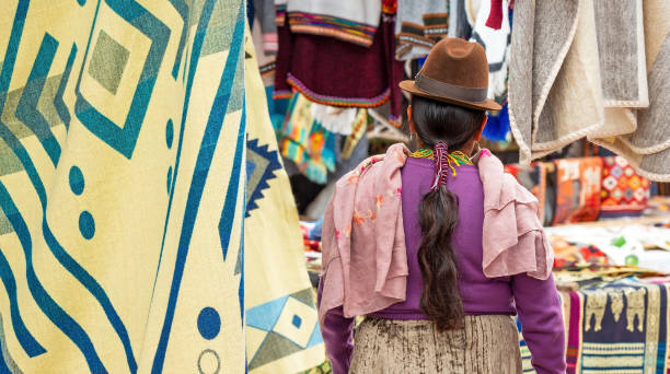 Otavalo Indigenous Woman, Otavalo Market, Ecuador stock photo