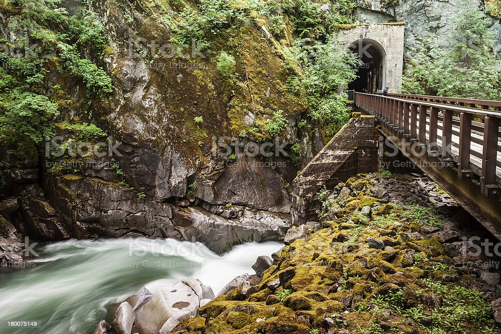 Othello Tunnels and the Coquihalla River - Hope, British Columbia royalty-free stock photo