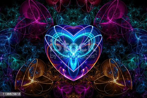 A heart shaped fractal artwork created with jWildfire.  Suitable for love related occasions.