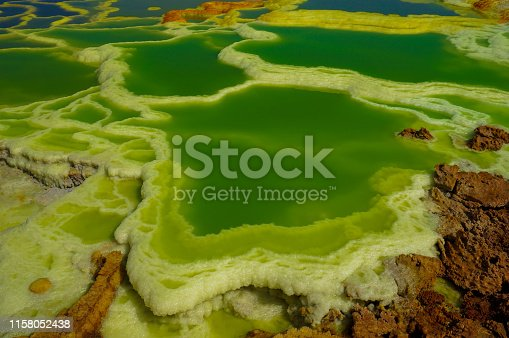 A hot spring in Danakil Depression, Ethiopia. Green and blue pools of water