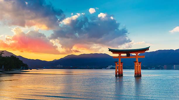 Otorii at Miyajima Miyajima, Japan - November 15 2013: Great floating gate (O-Torii) on Miyajima island near Itsukushima shinto shrine shinto shrine stock pictures, royalty-free photos & images
