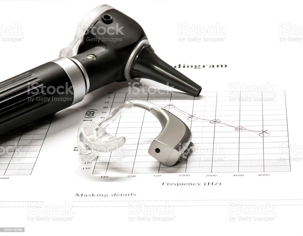 Otoscope and Hearing Aid with test results stock photo